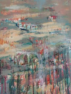Fog in the Everglade 2000 66x48 Super Huge Original Painting - Urbain Huchet