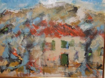 Paysage De Vallauris 1964 31x28 Original Painting - Urbain Huchet