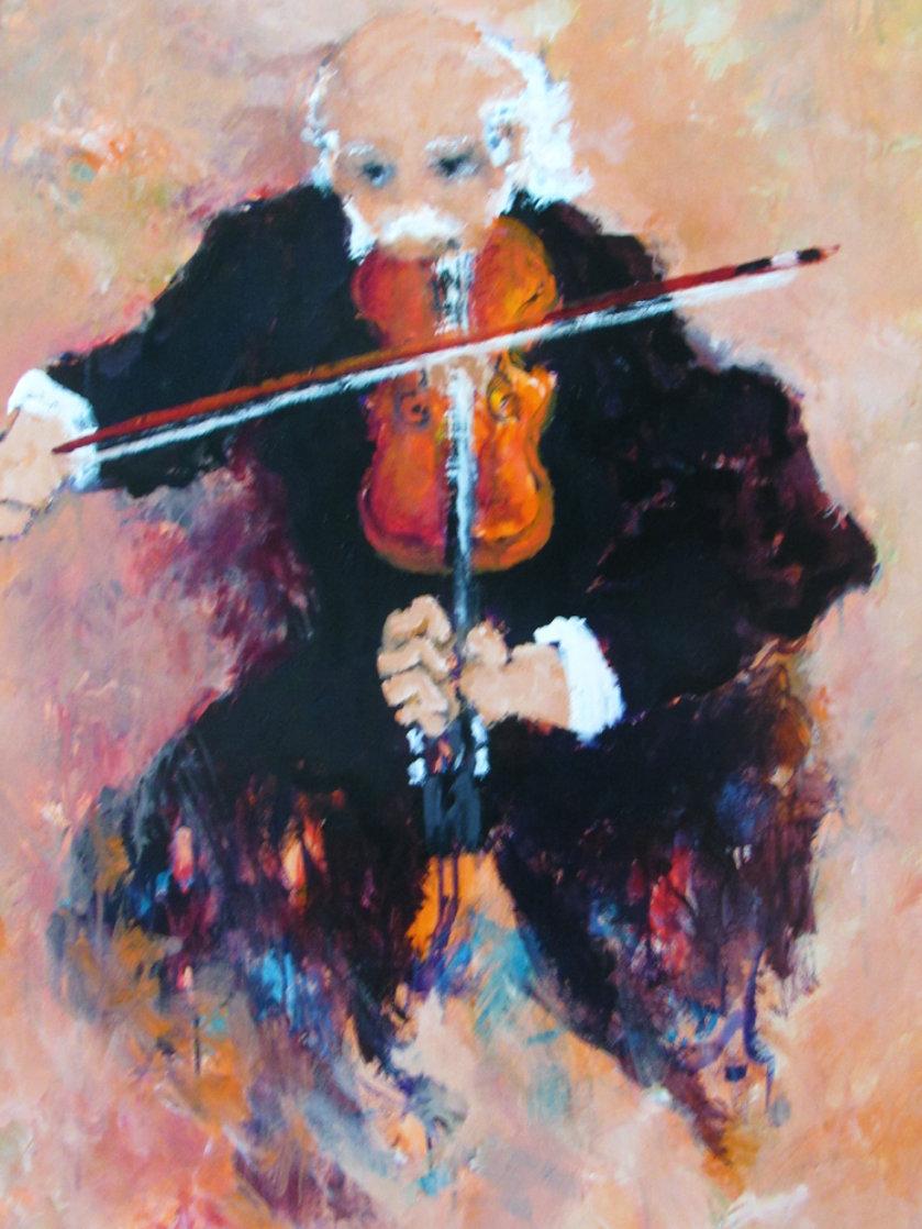 Le Violoniste 2000 38x45 Super Huge Original Painting by Urbain Huchet