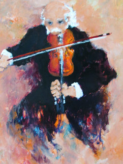 Le Violoniste 2000 38x45 Super Huge Original Painting - Urbain Huchet