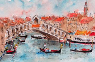 Le Paysage De Venice II 34x26 Original Painting - Urbain Huchet