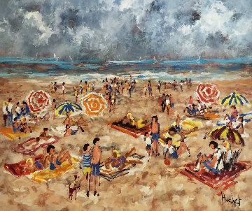 La Plage 30x35 Original Painting - Urbain Huchet