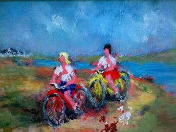 Jeunes Filles En Velo 28x34 Original Painting - Urbain Huchet