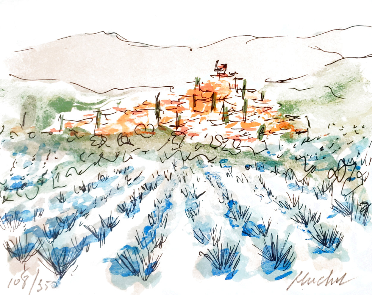 Lavender Field in Florence Limited Edition Print by Urbain Huchet