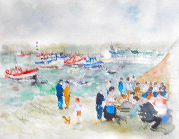 Cafe Du Port Watercolor 1980 34x41 Huge Watercolor - Urbain Huchet