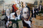 Homage to Benjamin Franklin 2000 Original Painting - Urbain Huchet