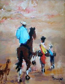 Cavalier Mexicain 2000 19x16 Original Painting - Urbain Huchet