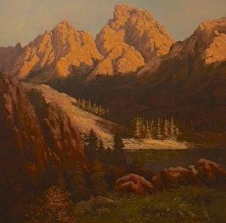 Mountain Scene 1970 45x45 Original Painting by Huertas Aguiar