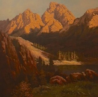 Mountain Scene 1970 45x45 Original Painting by Huertas Aguiar