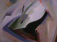 Moving Shapes 1960 37x31 Original Painting by Huertas Aguiar - 6