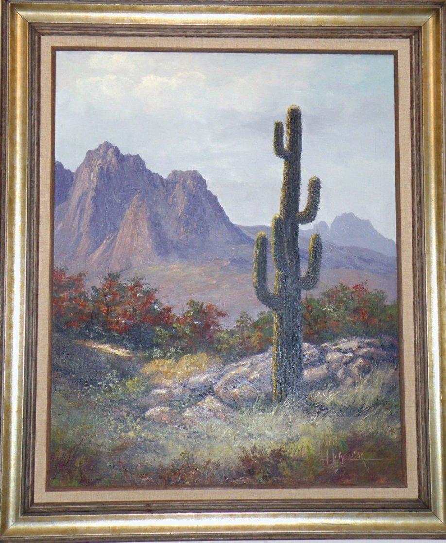 Saguaro Cactus, Pima Indian Reservation 1985 31x36 Original Painting by Huertas Aguiar