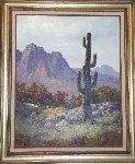Saguaro Cactus, Pima Indian Reservation 1985 31x36 Original Painting - Huertas Aguiar