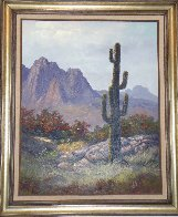 Saguaro Cactus, Pima Indian Reservation 1985 31x36 Original Painting by Huertas Aguiar - 0