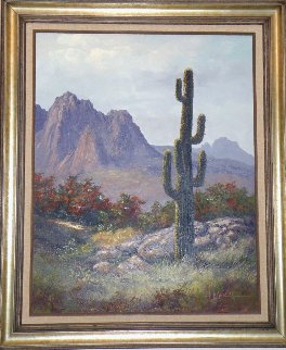 Saguaro Cactus, Pima Indian Reservation 1985 31x36 Original Painting - Huertas Aguiar