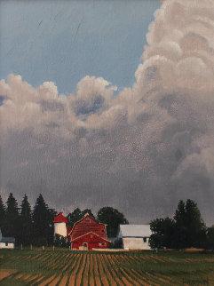 Red Barn, Spring, Ontario 18x15 Original Painting by Hugh  Thompson