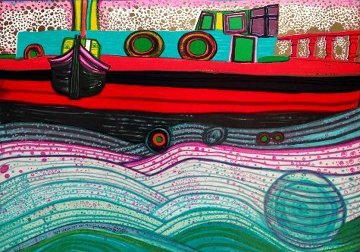 Sailing on Waves of Dreams  Limited Edition Print by Friedensreich S. Hundertwasser