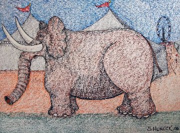 Circus Elephant 27x35 Works on Paper (not prints) by Stephen Huneck