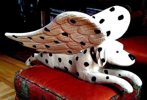 Flying Dalmatian Wood Sculpture 1988 32 in Sculpture by Stephen Huneck