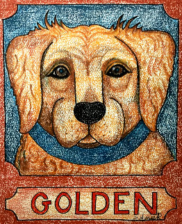 Golden 20x16 Works on Paper (not prints) by Stephen Huneck