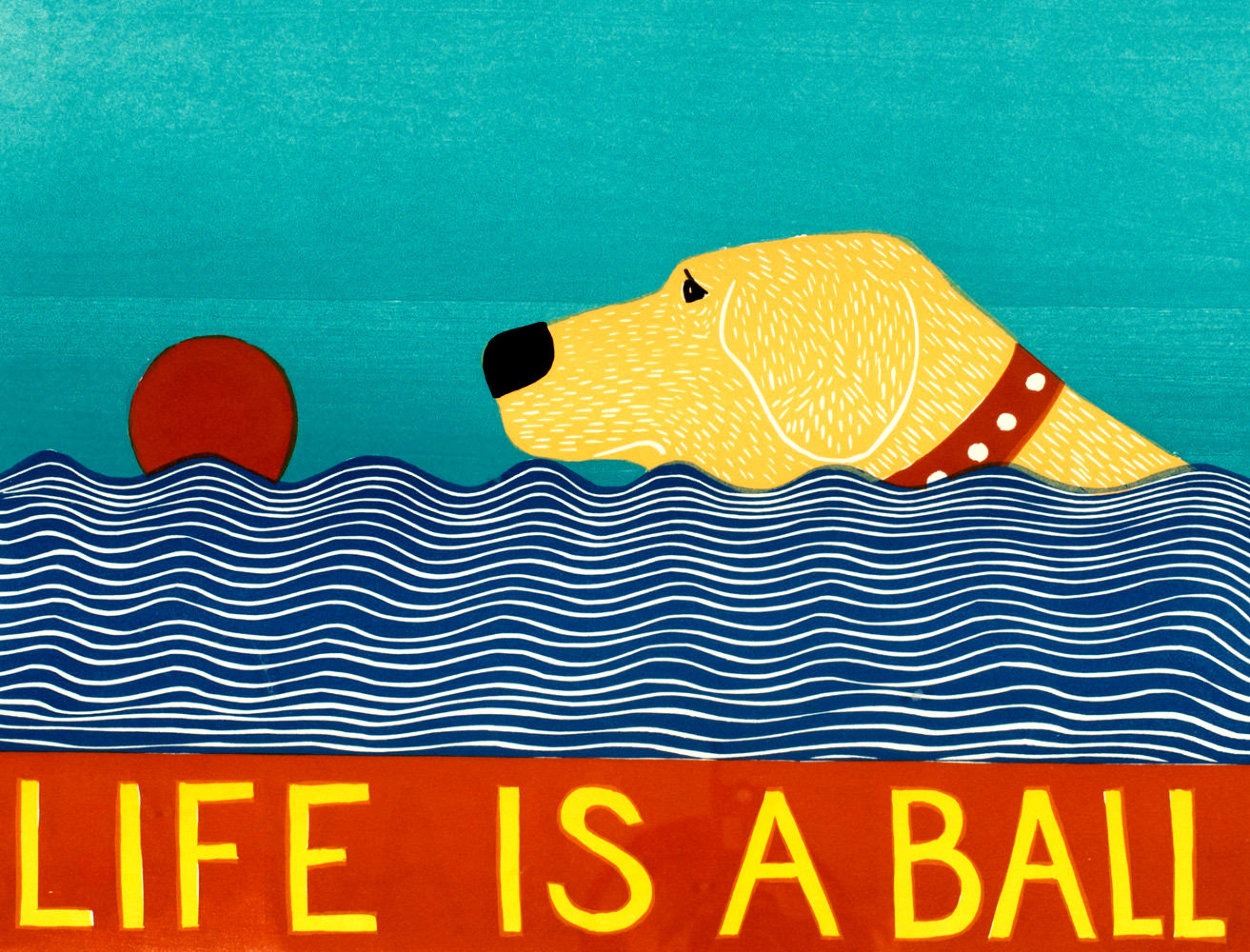 Life is a Ball - Yellow Lab 1997 Limited Edition Print by Stephen Huneck