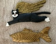 Fish and Cat Set of 2 Ornaments Other by Stephen Huneck - 0