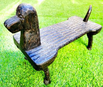 Untitled Wooden Sculpture Dog Footstool 2000 Unique 21 in Sculpture - Stephen Huneck