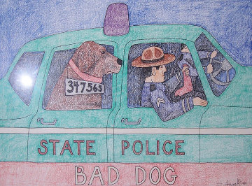 Bad Dog Original Painting - Stephen Huneck