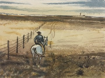 Fence Rider, Santa Fe AP Limited Edition Print by Peter Hurd