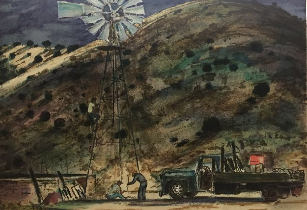 Windmill in Trouble AP Limited Edition Print by Peter Hurd