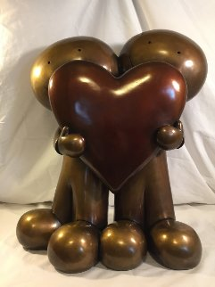 I Love You This Much Bronze Sculpture 2000 18 in Sculpture - Doug Hyde