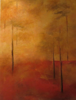 Sunlight Forest 48x24 Huge Original Painting - Nancy Iannitelli