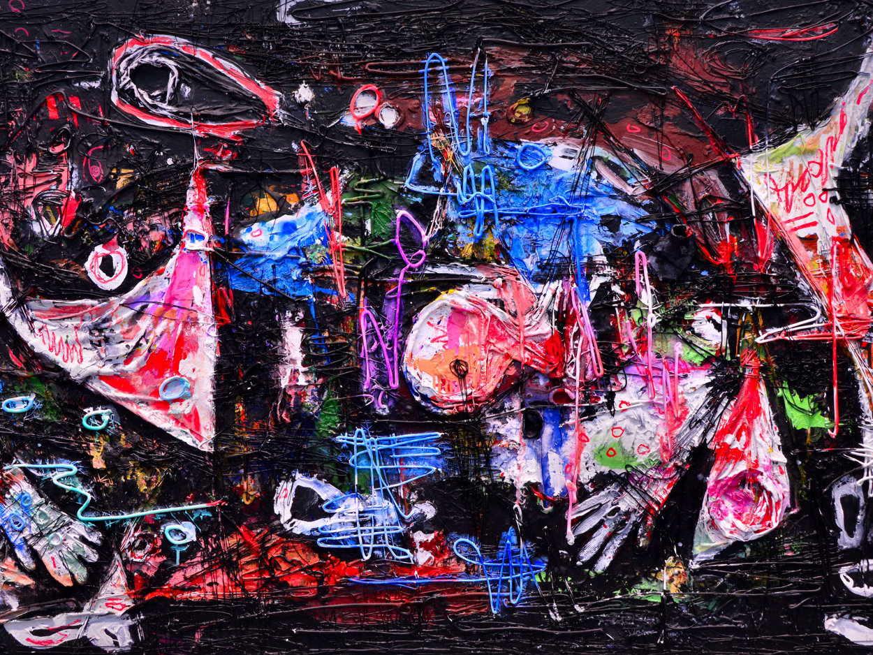 Practical World 3-D Mixed Media 2010 50x74 Huge Original Painting by Costel Iarca