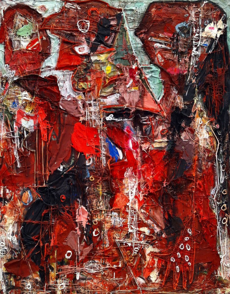 Emotions of Characters 3-D 2010 62x50 Super Huge Original Painting by Costel Iarca