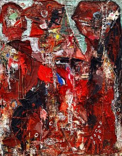 Emotions of Characters 3-D 2010 62x50 Super Huge Original Painting - Costel Iarca