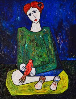 Lady in Blue 3-D 2014 62x50 Huge Original Painting - Costel Iarca