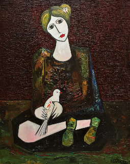 Lady With Dove Mixed Media 3-D 2014 62x50 Super Huge Original Painting - Costel Iarca
