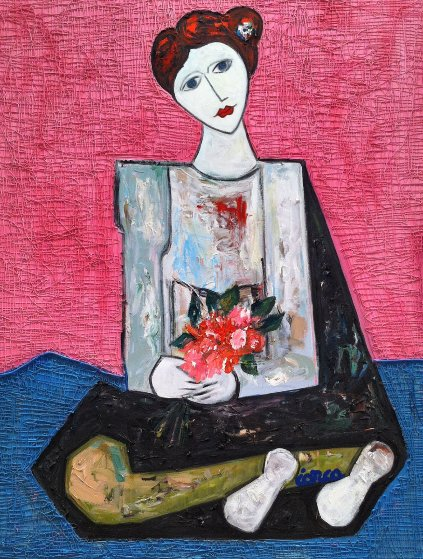 Lady  With Flowers 3-D Mixed Media 2014 62x50 Original Painting by Costel Iarca
