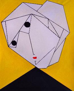 Woman in Yellow 2017 62x50  Huge Original Painting - Costel Iarca