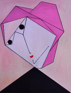 Woman in Pink 2017 62x50 Super Huge Original Painting - Costel Iarca
