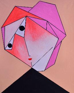 Woman in Orange 2017 62x50 Original Painting by Costel Iarca