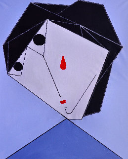 Woman in the Black And Blue 2017 62x50 Original Painting by Costel Iarca