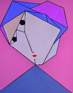 Woman in Pink And  Blue 2017 62x50 Original Painting by Costel Iarca