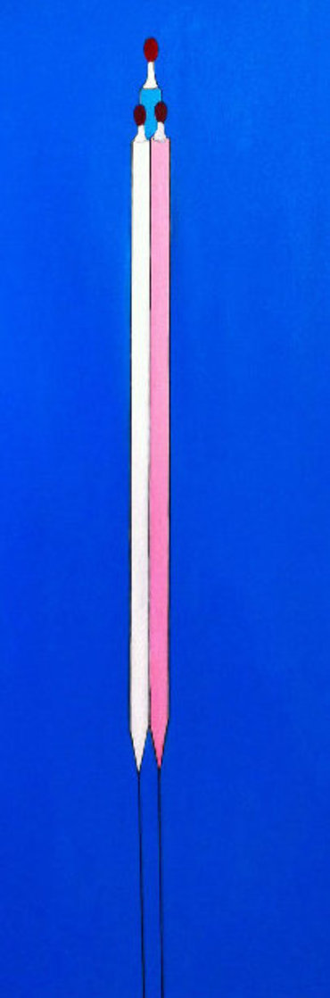 Blue Long Figure 2017 62x48 Super Huge Original Painting by Costel Iarca