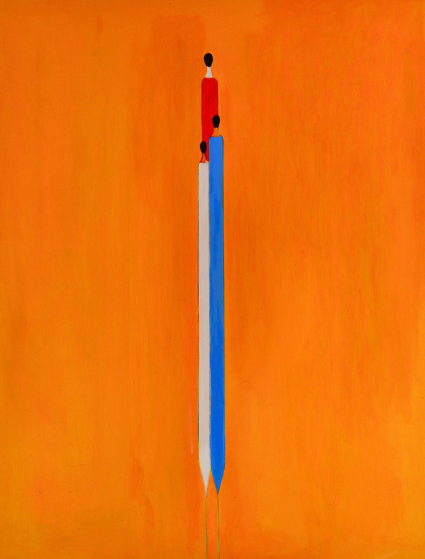 Long Figure in Yelow 2017 60x48 Super Huge Original Painting by Costel Iarca