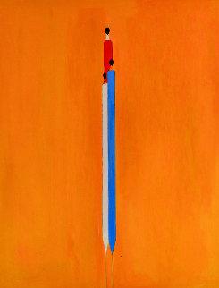 Long Figure in Yelow 2017 60x48 Huge Original Painting - Costel Iarca