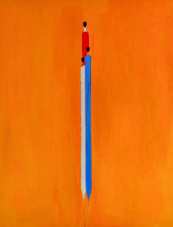 Long Figure in Yelow 2017 60x48  Original Painting by Costel Iarca