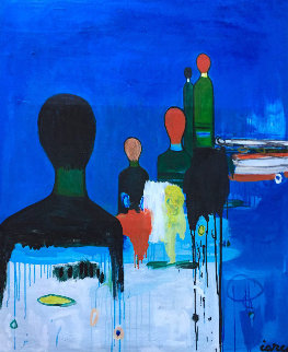 Steps Further in Blue 2018 62x50 Super Huge Original Painting - Costel Iarca