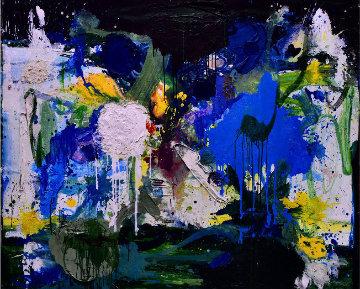 Summer in Blue 2017 72x60 Super Huge Original Painting - Costel Iarca