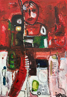 Hockey Player 2017 50x38 Original Painting by Costel Iarca