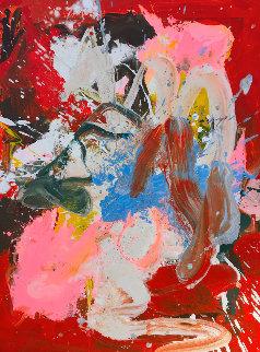 Under Red Umbrella 2017 50x38 Huge Original Painting - Costel Iarca